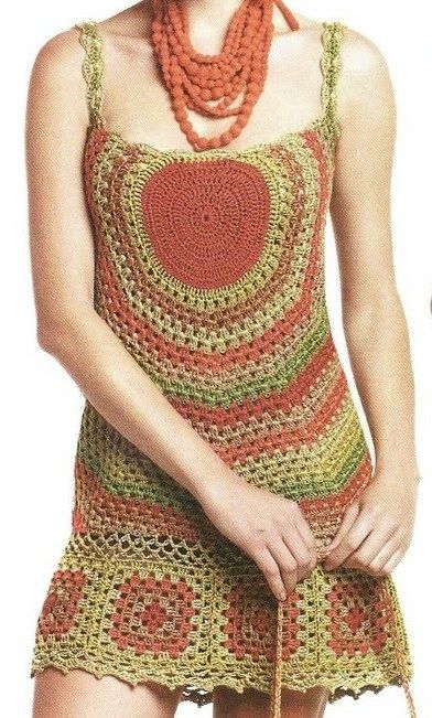 Crochet granny dress and purse ♥LCD-MRS♥ with diagram. This one is good for intermediate crafters ----Crochetemoda: Vestido de Crochet Colorido