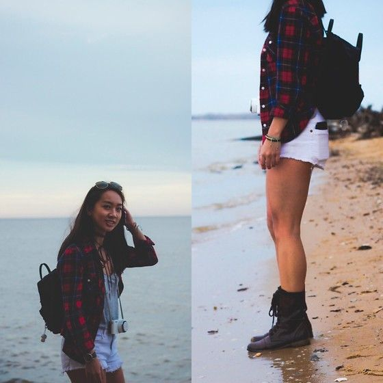 Get this look: http://lb.nu/look/8625697  More looks by Susan Y: http://lb.nu/susantime  Items in this look:  Fjällräven Black Mini Kanken Backpack, H&M Plaid Button Up, Cotton On White Cutoffs, Target Brown Combat Boots   #artistic #casual #edgy #hipster #beach #asian #plaid #kanken #petite