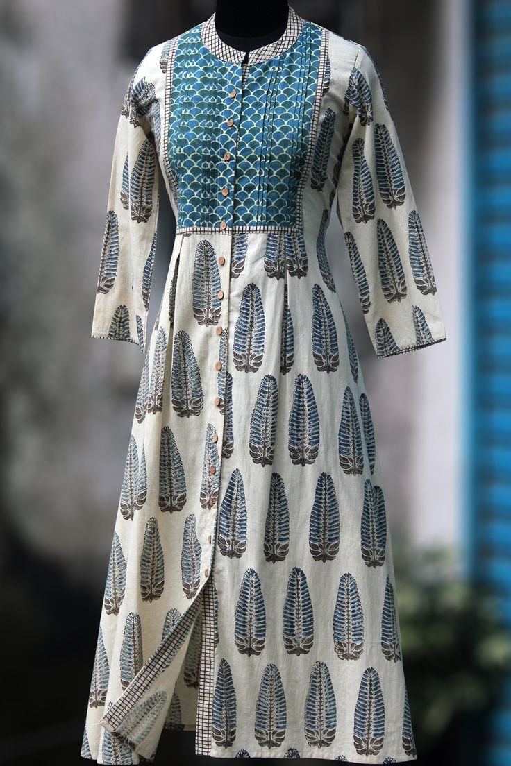 a stunning button down dress in ajrakh print & wooden buttons! 100% handblock printed fabric from natural dyes using ajrakh technique. click here to read
