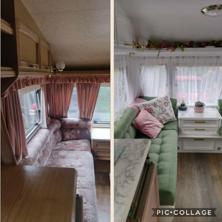 Caravan DIY renovation #caravanreno #caravaninterior #diycaravan #caravanwallpaper #tinyhome #rvliving #caravanremodel #traveltrailer #caravan #caravanlife #caravandecor