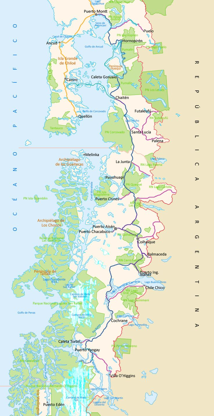 Carretera Austral Map - Aysén, Chile