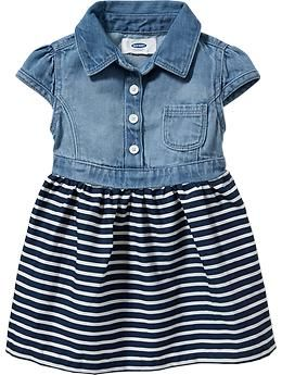 Denim-Top Dresses for Baby