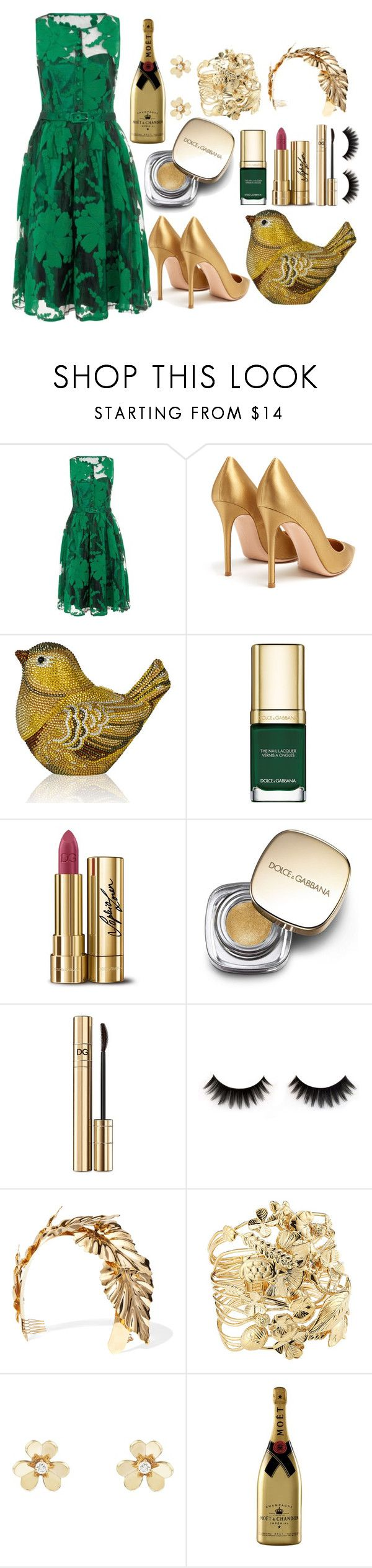 """""""Romance & Waltz"""" by pulseofthematter ❤ liked on Polyvore featuring Gianvito Rossi, Judith Leiber, Dolce&Gabbana, Lelet NY, Aurélie Bidermann and Van Cleef & Arpels"""