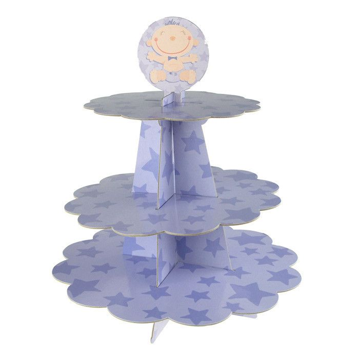 Baby Boy Star Print Carboard Cupcake Stand, 3 Tiers, 10-inch