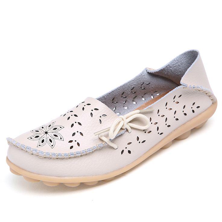 Плюс Размер 2016 Балета Лето Вырез Женщин Обувь Из Натуральной Кожи Женщина Плоский Гибкий Круглый Носок Медсестра Повседневная Мода Loaferкупить в магазине Xfjc Fashion StoreнаAliExpress