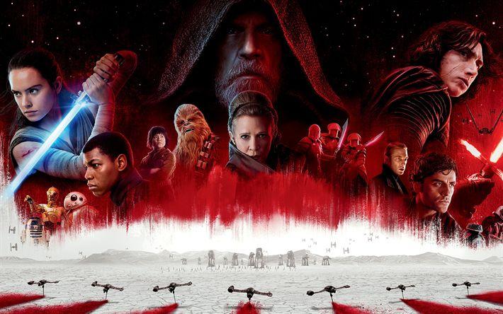 Download wallpapers Star Wars, The Last Jedi, 2017, Episode VIII, Daisy Ridley, John Boyega, Mark Hamill, Adam Driver, Mark Richard Hamill