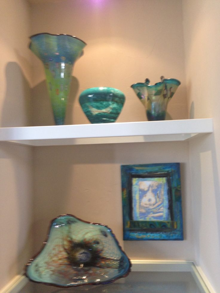 Lucy Chamberlain's beautiful art glass along with Betty Lacy's art quilt