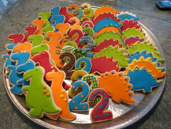 Dinosaur Sugar Cookie Favors by SweetConfectionsCake on Etsy