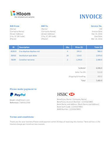 Banker Blues Invoice Template Word