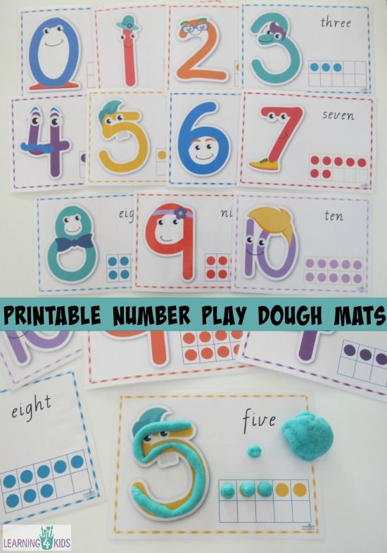 Printable Number Play Dough Mats