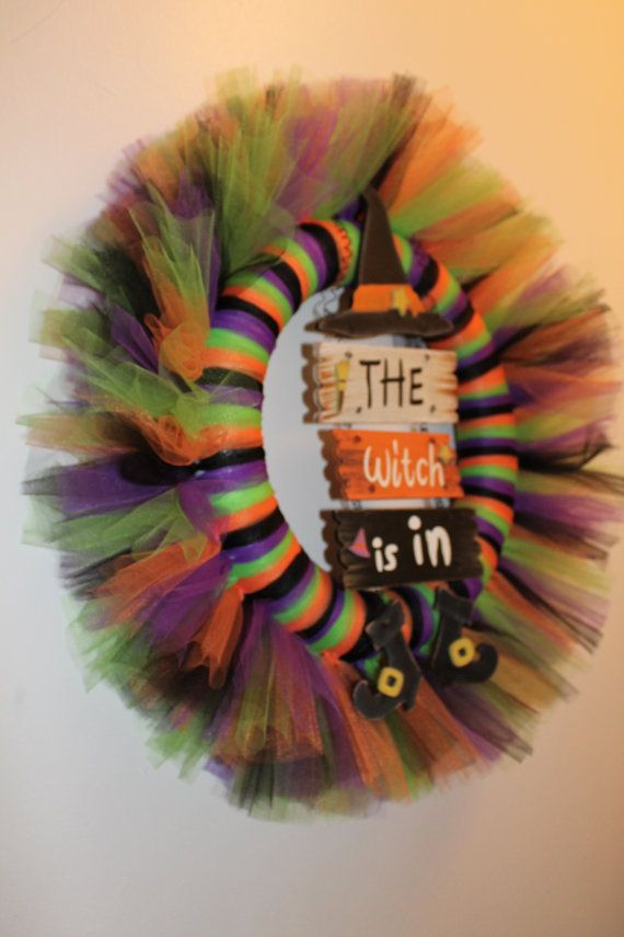 2224 The Witch Is In Tulle Wreath made on by MandJcraftycreations, $30.00