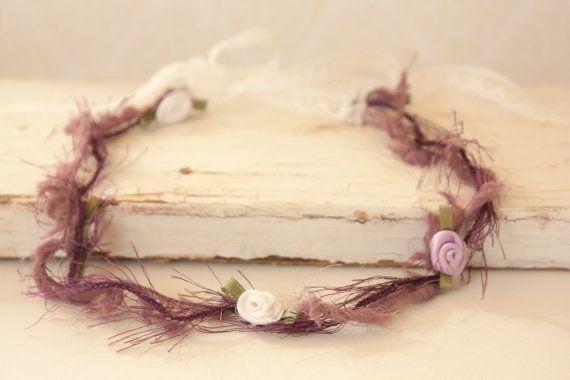 Baby Headband Lace Tie Back Purple White by BeautyfromashesUSA