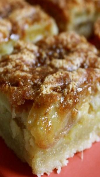 Vanilla Rhubarb Custard Bars Recipe ~ The shortbread crust is crisp and buttery and the sweet vanilla filling creamy smooth and melt-in-your-mouth good.  All of these aspects make these bars delicious and extremely addicting,