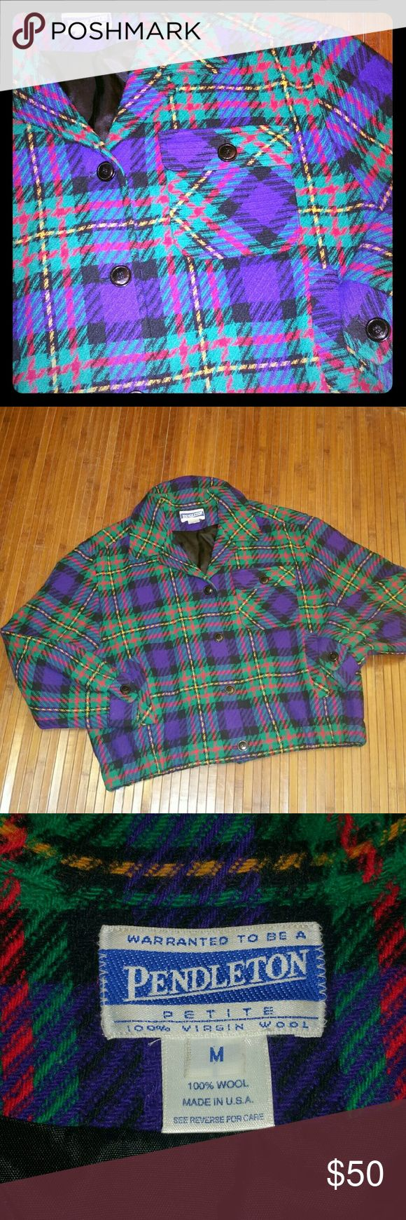 Womens Pendleton Wool Bomber Jacket The colors are fantastic in this warm lined jacket. Purple, fuscia, and teal will look great with many combinations. There are two side placket pockets and a flat front with an elastic waist. It has an extra cold weather button at the top of the collar. Or keep the tabbed collars '' Pendleton Jackets & Coats Blazers