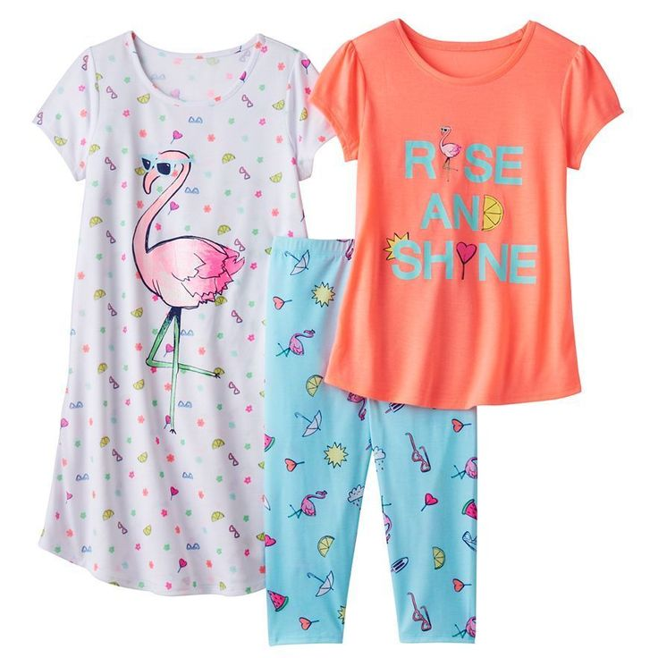 Girls 3 Piece Graphic White Flamingo Summer Pajama Set and Nightgown  XL (14) #so #PajamaSet