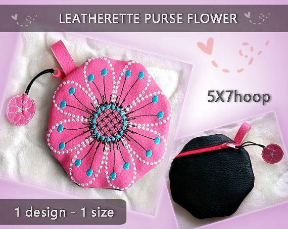Leatherette purse flower No.245  5x7 hoop  by EmbroideryRady