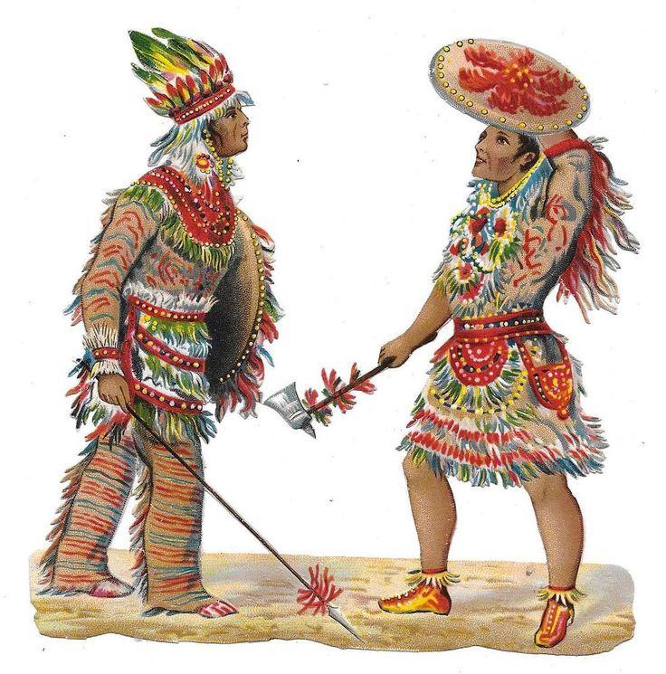 Victorian Die Cut Scrap Inca Warriors  1880s: