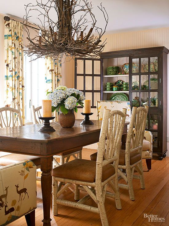 The Birchwood And Leather Chairs Of This Rustic Dining Room Are To Die For!