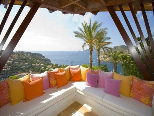 : Outdoor Oasis, Outdoor Seats, Beaches House, Color, The View, Dreams House, Sea View, Couch Pillows, Ocean View