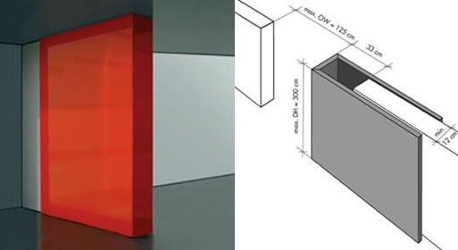 sliding door alternative - the WelterWall is a German design in which a C-shaped panel fits over the existing wall, rather than having to be carved inside it like a pocket door installation.