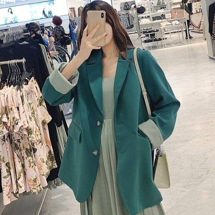 Elegant Single Breasted Women Blazer Jackets Female Casual Green Suits Coat 2019…
