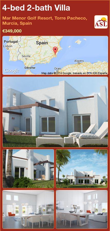 4-bed 2-bath Villa in Mar Menor Golf Resort, Torre Pacheco, Murcia, Spain ►€349,000 #PropertyForSaleInSpain