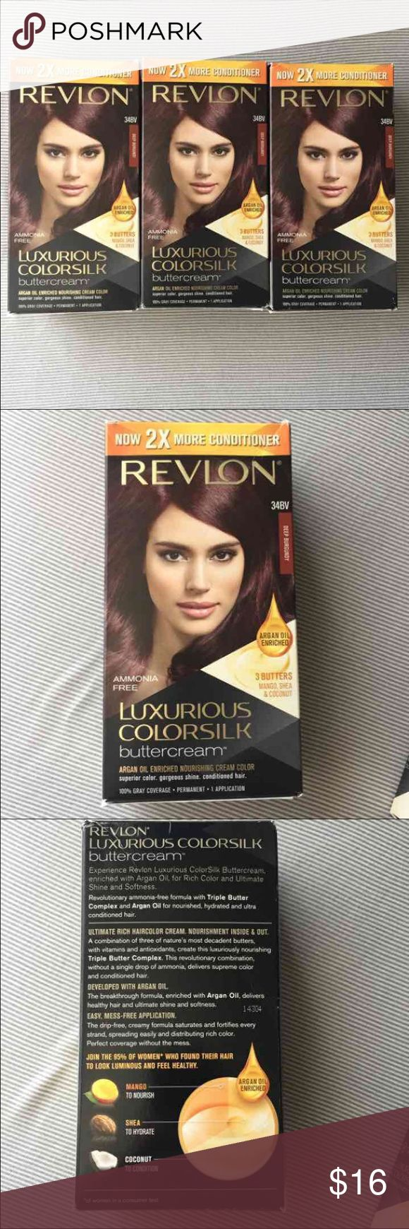 Revlon deep burgundy Hair Dye color Revlon Luxurious Colorsilk Buttercream Now with 2x more conditioner Ammonia free Argan oil mango shea & coconut 100% gray coverage Permanent  1 application  You get 3 boxes as shown, brand new See last picture to see how it changes blond light brown dark brown and black hair. Just purchased but decided not to use them. Revlon Other