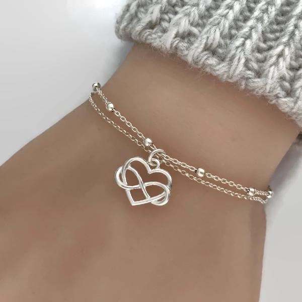 Silver stars Love gift for women Boho Silver beaded bracelet Layered bracelet Leather bracelet for women Heart bracelet