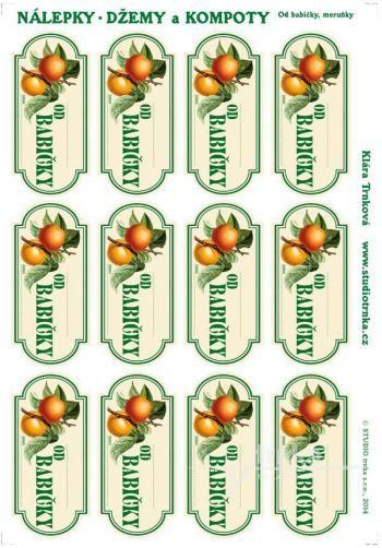 Samolepicí etikety, zavařování meruňky od babičky