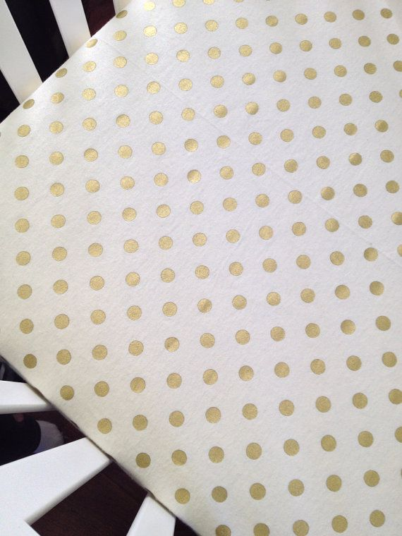 Cream and gold dot flannel fitted crib sheet READY by maxandgrace