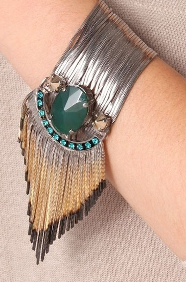 Jewelry Cuff inspired by Native American jewelry. Would be great if it were sterling and turquoise - cut the rhinestones and sub with coral or spiny oyster.
