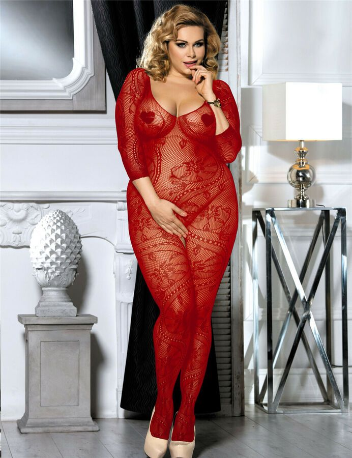 9b0719e1f5f Sexy Plus Size Red Hot Fishnet Bodystocking Open Crotch Crotchless Lingerie   Ad