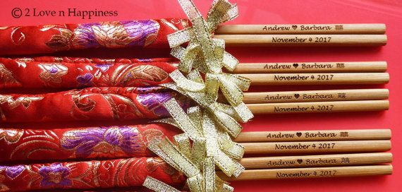 Customised engraved chopsticks in Chinese brocade sleeves/Door