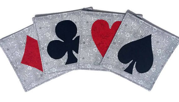 Bridge Card Quilted Fabric Coasters Diamond Heart Spade and
