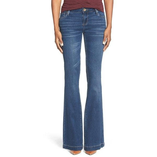 KUT from the Kloth 'Chrissy' Stretch Flare Leg Jeans ($94) ❤ liked on Polyvore featuring jeans, inclusion, stretch denim jeans, slim blue jeans, slim jeans, flare leg jeans and flared leg jeans