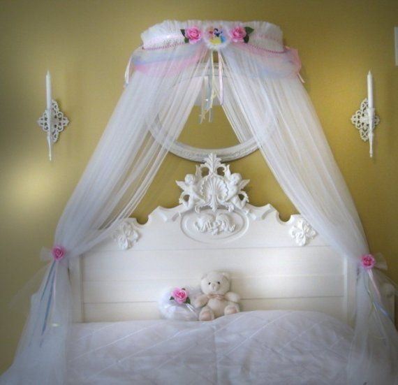 Disney princess fairy bed canopy girls bedroom netting for Fairy princess bedroom ideas