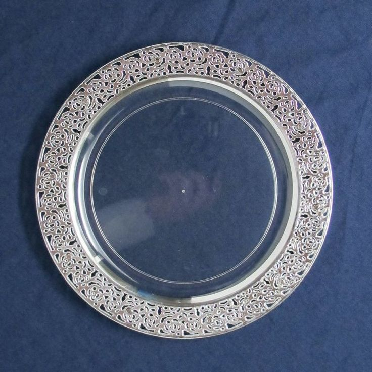 10 25 Lace Clear Silver Plastic Dinner Plates