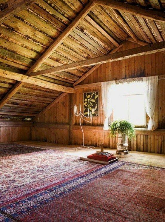 home-yoga-room-attic-rustic
