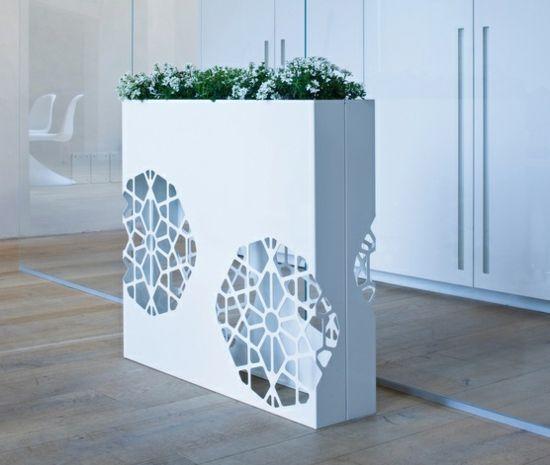 white flower boxes-integrated lighting