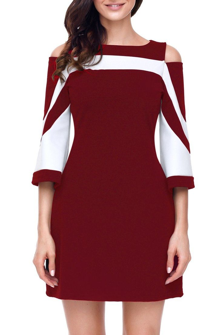 Robe Courte Femme Rouge Blanc Bloc de Couleur Froide Epaule Pas Cher www.modebuy.com @Modebuy #Modebuy #Blanc #Bordeaux #mode #fashion #fashionable