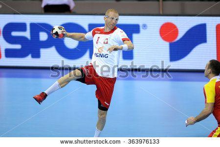 CRACOV, POLAND - JANUARY 17, 2016: Men's EHF European Handball Federation EURO 2016 Krakow Tauron Arena Poland Macedonia o/p: Karol Bielecki