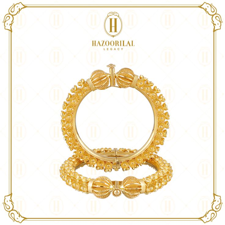 #TheGoldenEssence :  Reminiscent of ancient temple carvings, these bangles are essential to your family's legacy of love…#HazoorilalLegacy #Hazoorilal #Jewelry #Gold #Bangles