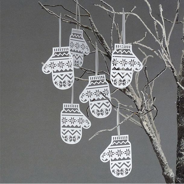 Papercut Mittens Christmas Tree Decorations