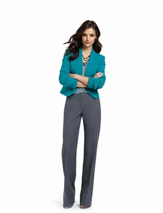 Great office look for fall  colorful blazer + printed shell + gray pants