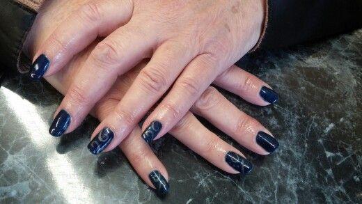 Gelish gel polish navy blue swirls seahawks super bowl 2014