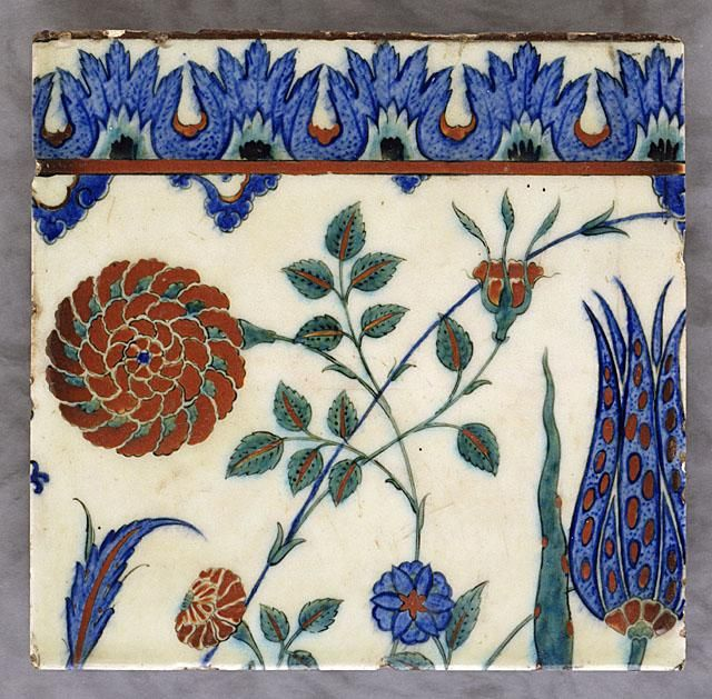 Tile   Origin: Turkey, Iznik   Period:  second half of 16th century   Collection: Purchased with Funds Provided by Mr. and Mrs. Allan C. Balch and the Art Museum Council (M.87.103)   Type: Ceramic; Architectural element, Fritware, underglaze painted, 10 1/4 x 10 5/8 in. (26.04 x 26.99 cm)