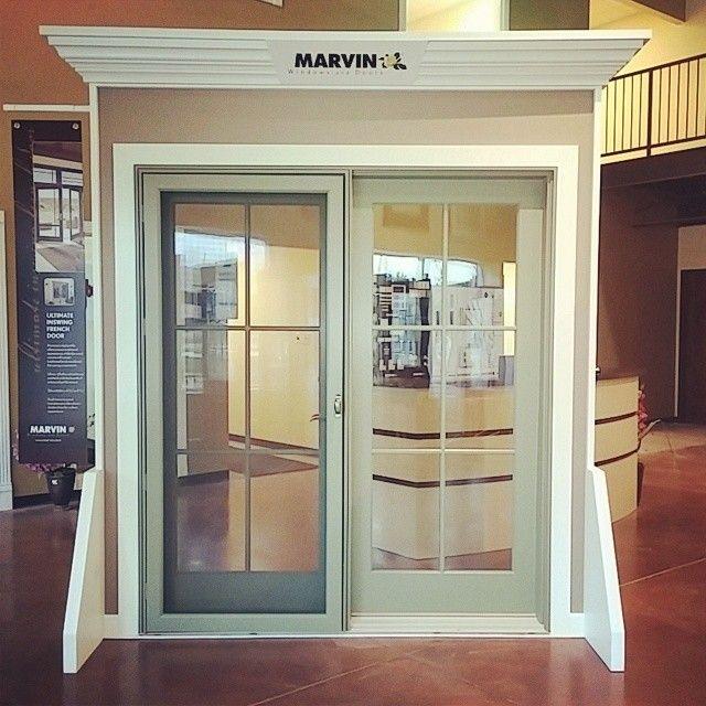 Wood Patio Door Features An Atrium Style Hinged Door With Matching Screen  Door