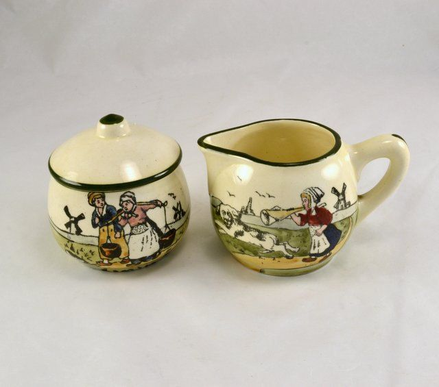 New to ChicMouseVintage on Etsy: Earthenware Creamer Sugar w/ Lid - Made in Austria - Zell or Zeller Keramik Baden Dutch Scene  - Hand Painted Pottery - Early (125.00 USD)
