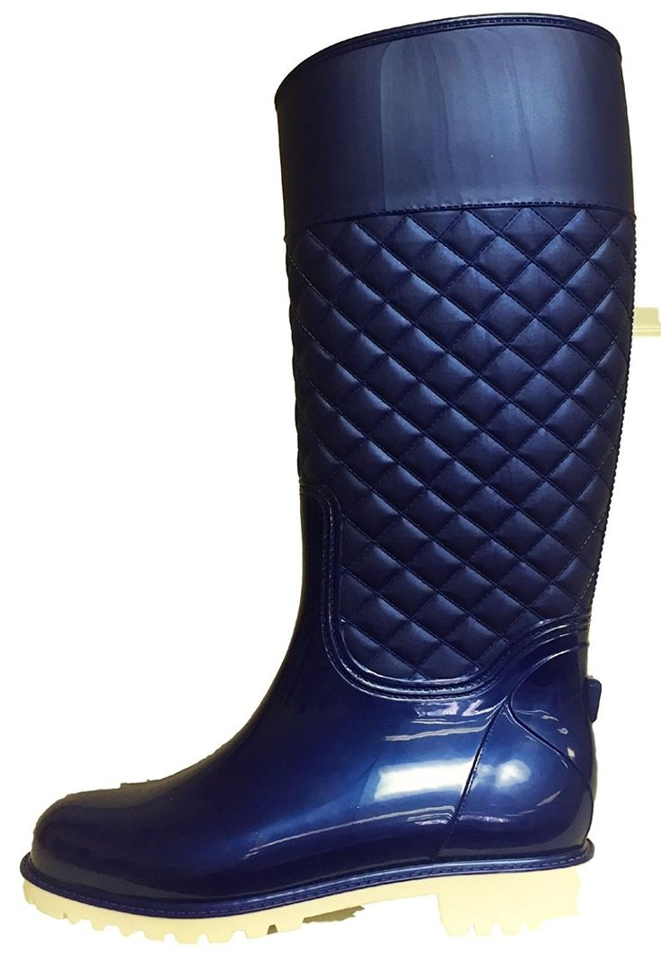 ED Women Knee High Quilted Rain Rubber Galoshes Wellies Pull Up Boots Blue and White >>> See this great product.