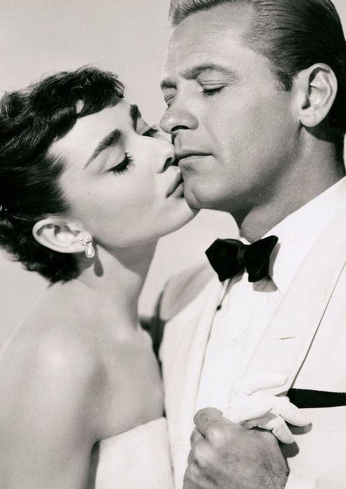 "Audrey Hepburn / Born: Audrey Kathleen Ruston  May 4, 1929 in Ixelles, Belgium  Died: January 20, 1993 (age 63) in Tolochenaz, Switzerland / with William Holden in ""Sabrina"""